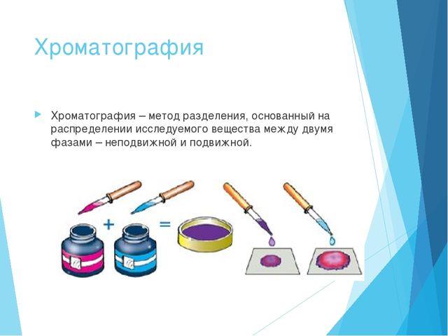 Хроматография Хроматография – метод разделения, основанный на распределении и...