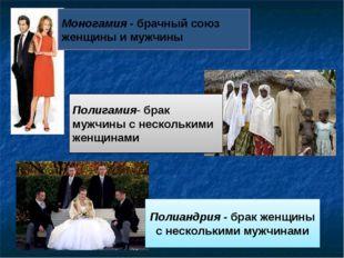 Моногамия - брачный союз женщины и мужчины Полиандрия - брак женщины с нескол