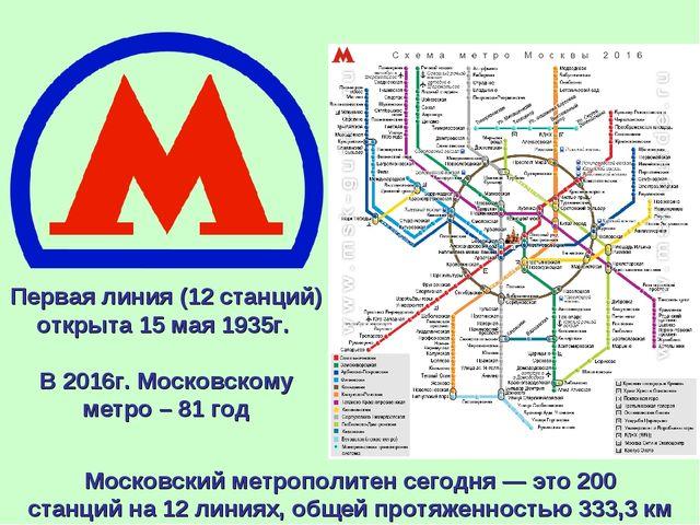 Московский метрополитенсегодня — это200 станцийна12 линиях, общей протяже...