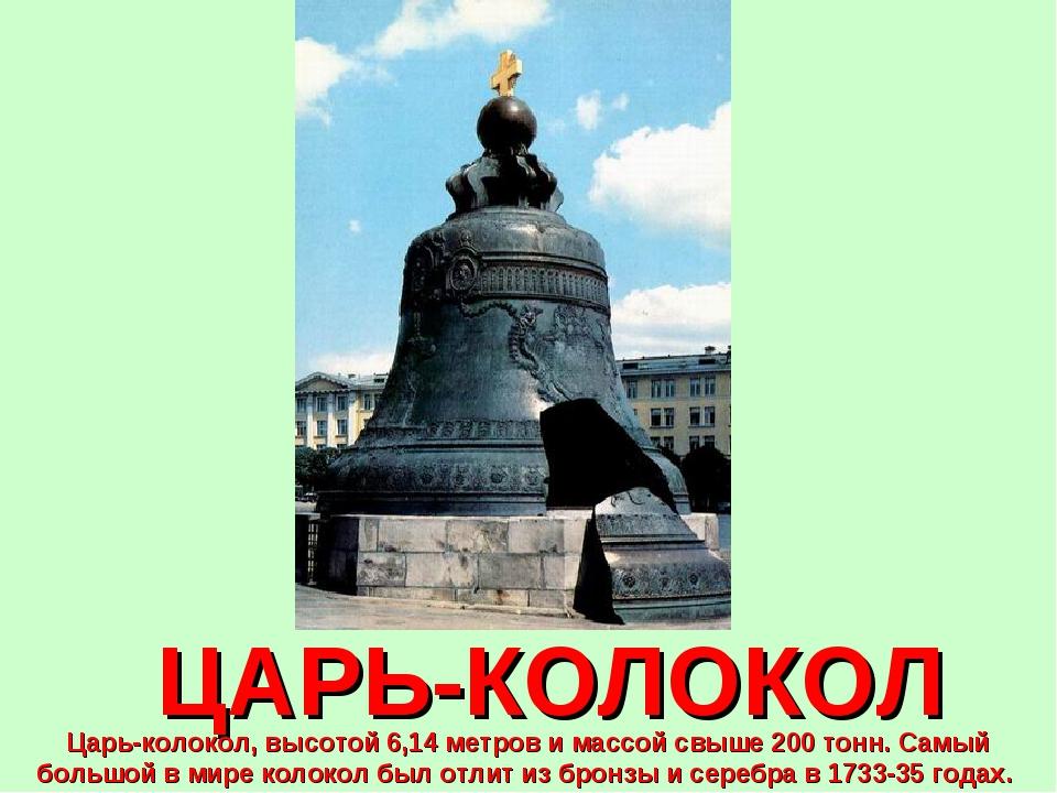 ЦАРЬ-КОЛОКОЛ Царь-колокол, высотой 6,14 метров и массой свыше 200 тонн. Самый...