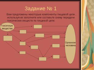 Задание № 1 Вам предложены некоторые компоненты пищевой цепи , используя их з