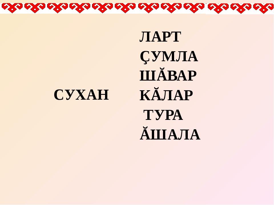 СУХАН ЛАРТ ÇУМЛА ШĂВАР КĂЛАР ТУРА ĂШАЛА