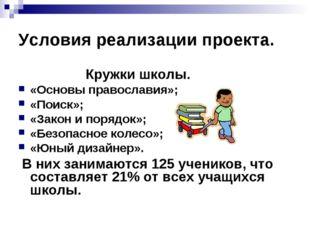 Условия реализации проекта. Кружки школы. «Основы православия»; «Поиск»; «Зак