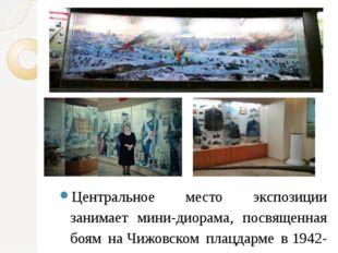 Центральное место экспозиции занимает мини-диорама, посвященная боям наЧижов