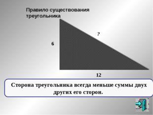 ? 6 12 Правило существования треугольника Сторона треугольника всегда меньше