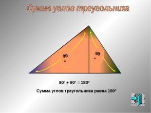 Сумма углов треугольника равна 180º 90º + 90º = 180º