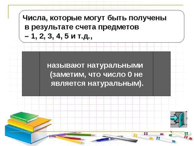 Числа, которые могут быть получены в результате счета предметов – 1, 2, 3, 4,...
