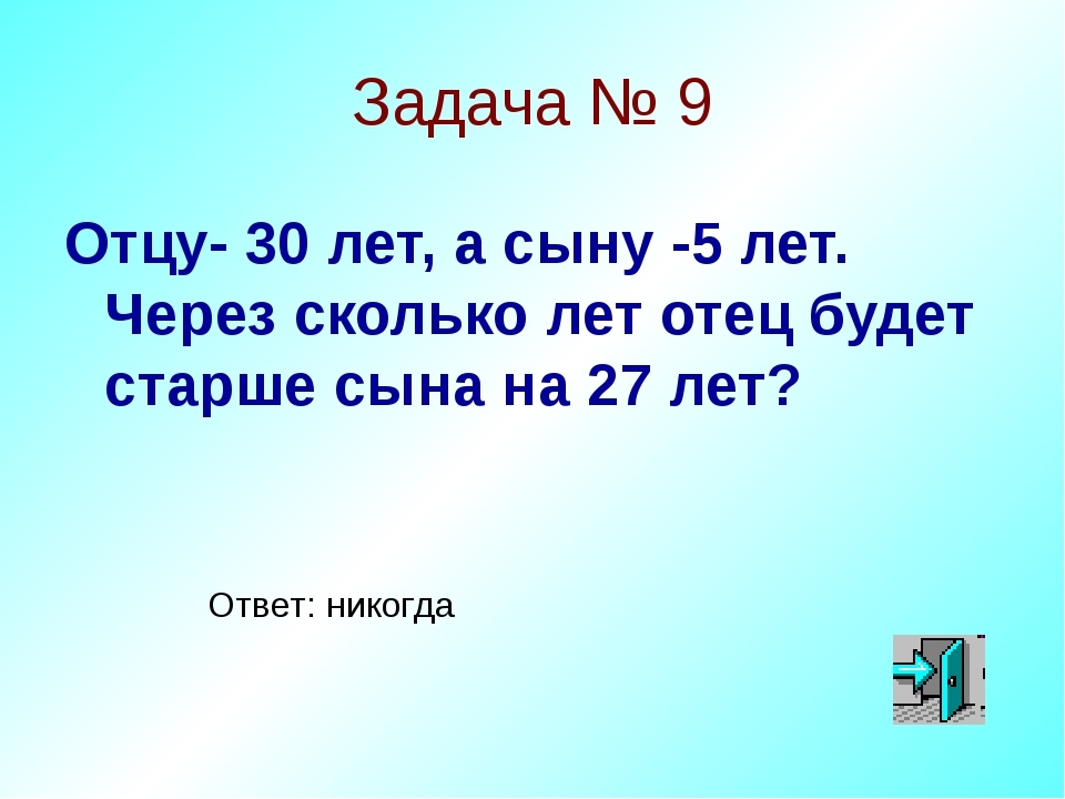 Задача № 9 Отцу- 30 лет, а сыну -5 лет. Через сколько лет отец будет старше с...