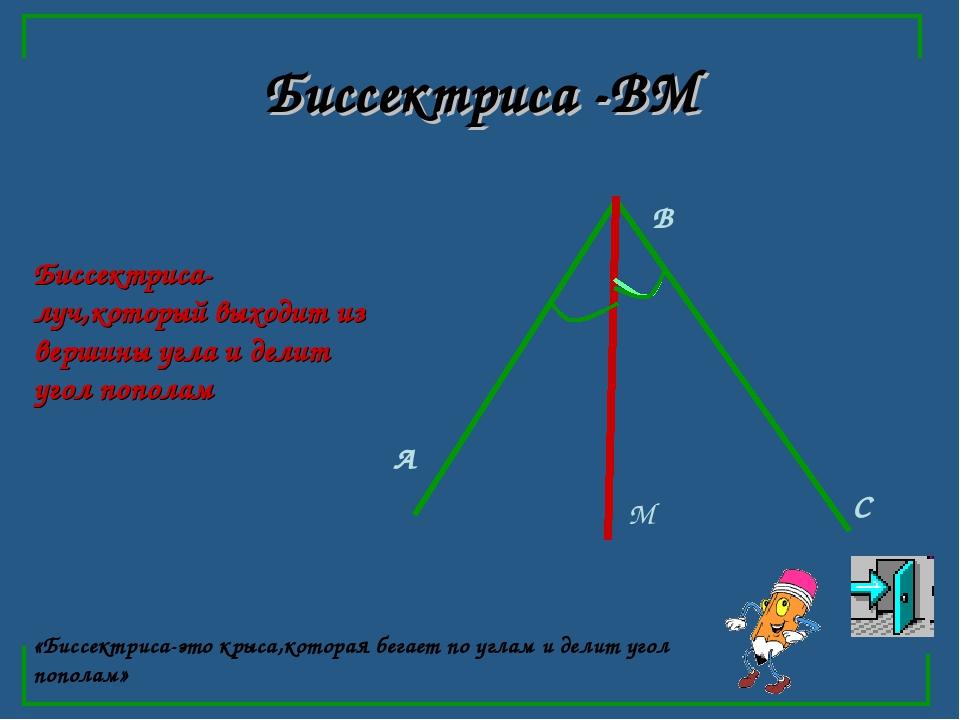 Биссектриса -ВМ А В С М «Биссектриса-это крыса,которая бегает по углам и дели...