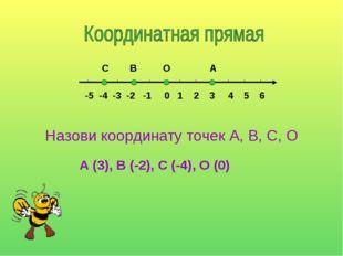 -5 -4 -3 -2 -1 0 1 2 3 4 5 6 С В О А Назови координату точек А, В, С, О А (3