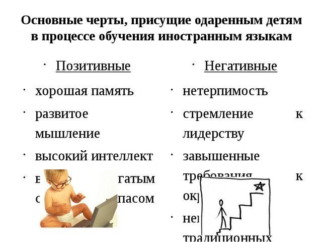 Основные черты, присущие одаренным детям в процессе обучения иностранным язык...