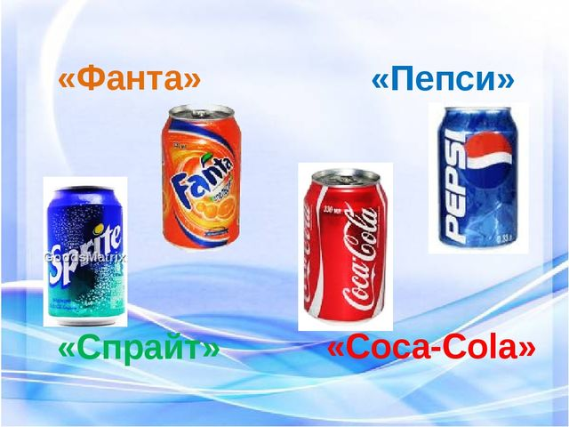«Coca-Cola» «Фанта» «Спрайт» «Пепси»
