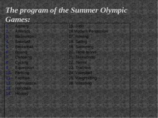 The program of the Summer Olympic Games: Archery Athletics Badminton Baseball