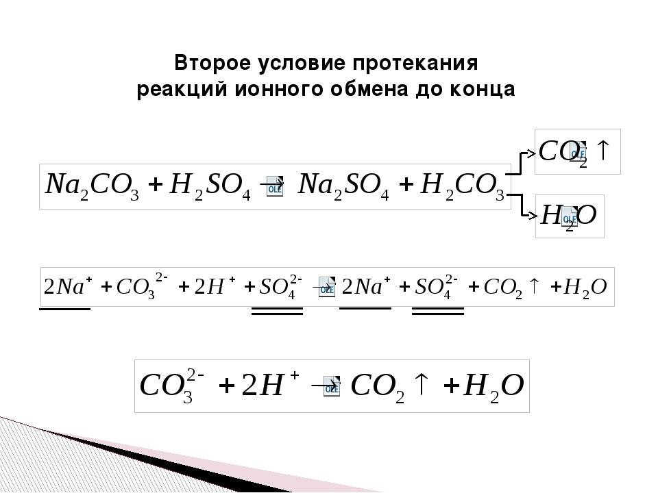 Второе условие протекания реакций ионного обмена до конца
