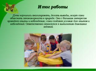 Итог работы Дети научились анализировать, делать выводы, могут сами объяснить