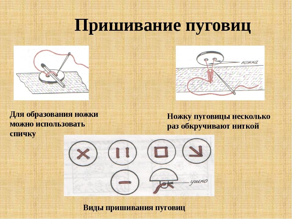 Пришивание пуговиц Для образования ножки можно использовать спичку Ножку пуго...