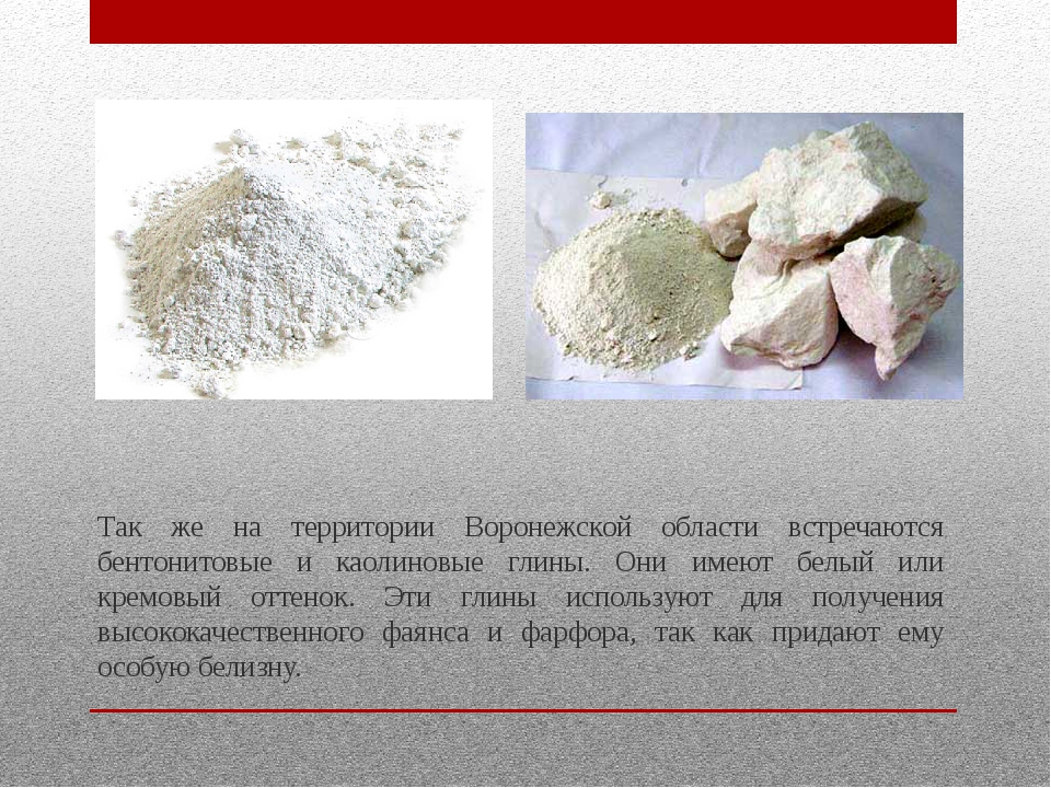 Так же на территории Воронежской области встречаются бентонитовые и каолиновы...
