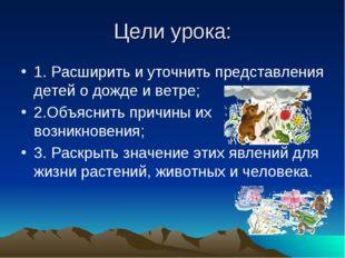 Цели урока: 1. Расширить и уточнить представления детей о дожде и ветре; 2.Об
