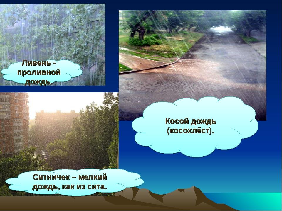 Ливень - проливной дождь. Ситничек – мелкий дождь, как из сита. Косой дождь (...