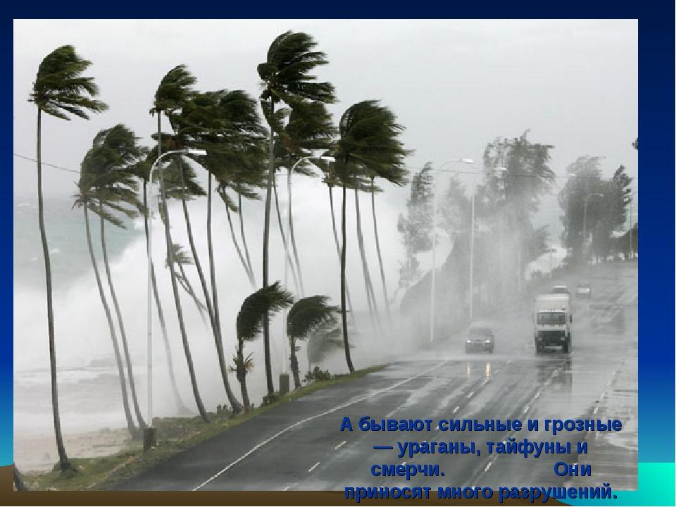 А бывают сильные и грозные — ураганы, тайфуны и смерчи. Они приносят много ра...