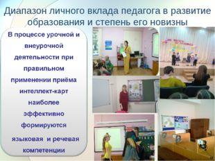 Диапазон личного вклада педагога в развитие образования и степень его новизны *