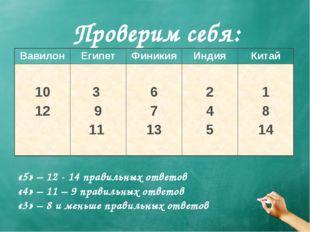 Проверим себя: «5» – 12 - 14 правильных ответов «4» – 11 – 9 правильных ответ