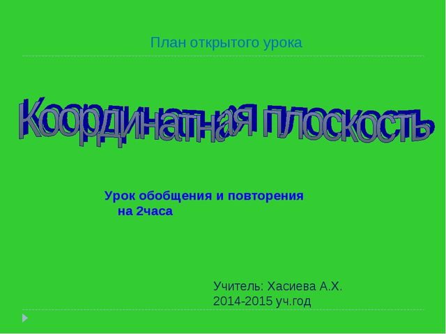 Урок обобщения и повторения на 2часа Учитель: Хасиева А.Х. 2014-2015 уч.год П...
