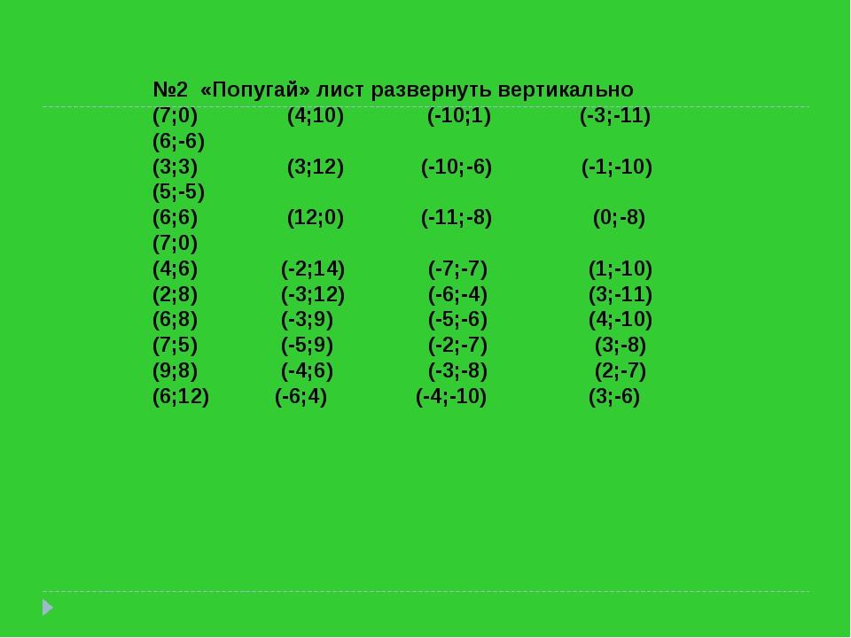 №2 «Попугай» лист развернуть вертикально (7;0) (4;10) (-10;1) (-3;-11) (6;-6)...