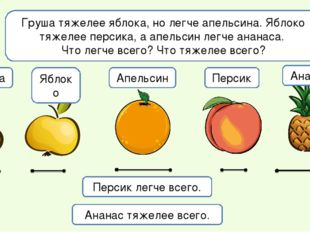Груша тяжелее яблока, но легче апельсина. Яблоко тяжелее персика, а апельсин