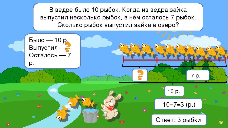 В ведре было 10 рыбок. Когда из ведра зайка выпустил несколько рыбок, в нём о...