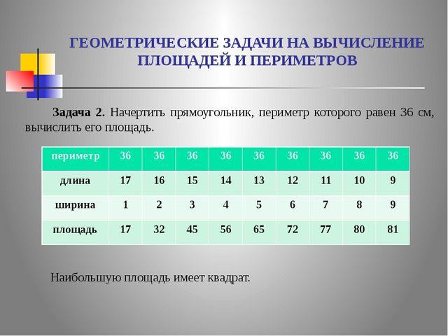 ГЕОМЕТРИЧЕСКИЕ ЗАДАЧИ НА ВЫЧИСЛЕНИЕ ПЛОЩАДЕЙ И ПЕРИМЕТРОВ  Задача 2. Начерти...