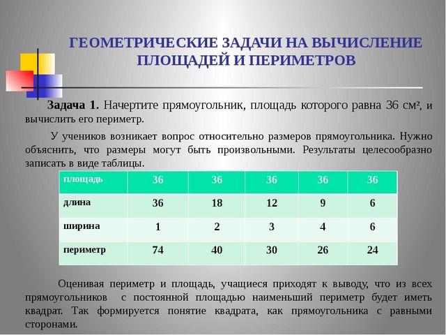 ГЕОМЕТРИЧЕСКИЕ ЗАДАЧИ НА ВЫЧИСЛЕНИЕ ПЛОЩАДЕЙ И ПЕРИМЕТРОВ Задача 1. Начертит...