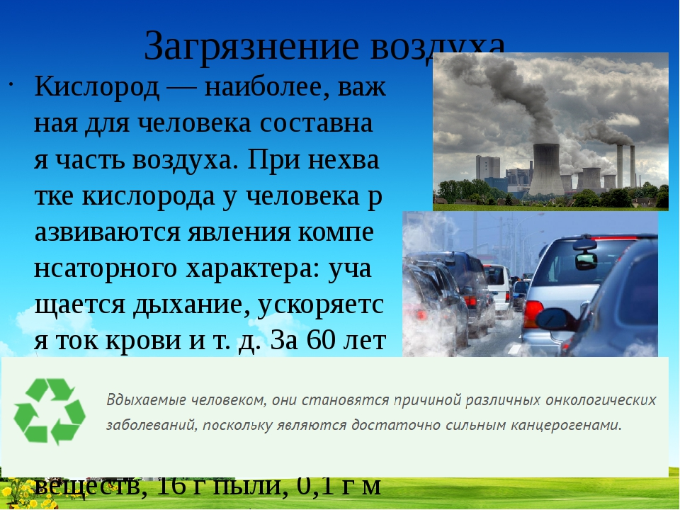 Загрязнение воздуха Кислород — наиболее, важная для человека составная часть...