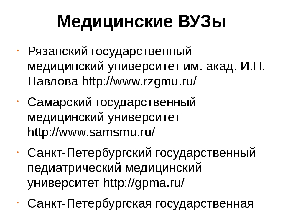 Медицинские ВУЗы Рязанский государственный медицинский университет им. акад....