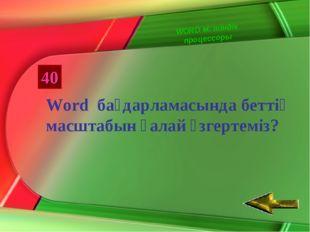 40 Word бағдарламасында беттің масштабын қалай өзгертеміз? WORD мәтіндік проц