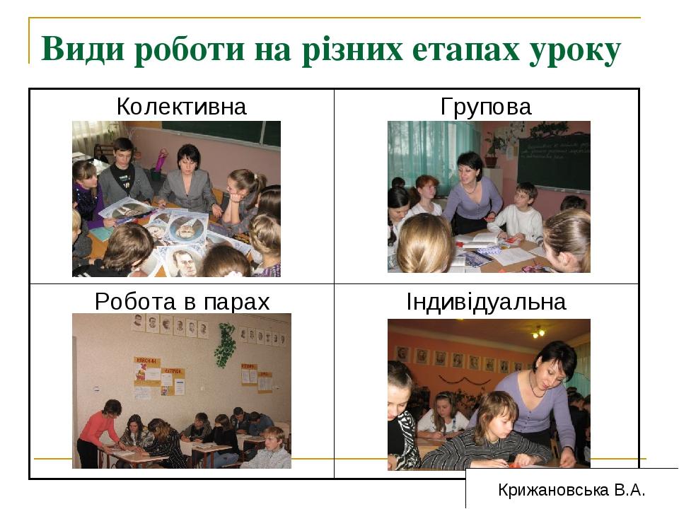 Види роботи на різних етапах уроку Крижановська В.А. Колективна Групова Робо...