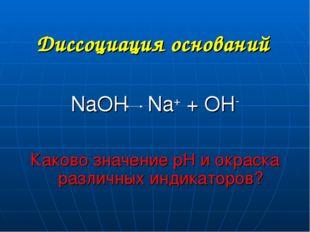 Диссоциация оснований NaOH Na+ + OH- Каково значение рН и окраска различных и