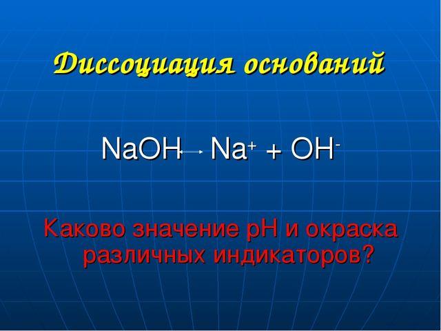 Диссоциация оснований NaOH Na+ + OH- Каково значение рН и окраска различных и...