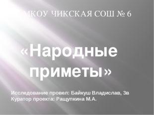 «Народные приметы» Исследование провел: Байкуш Владислав, 3в Куратор проекта: