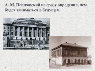 А. М. Пешковский не сразу определил, чем будет заниматься в будущем..