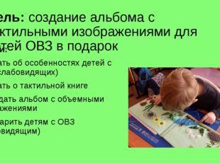 Цель: создание альбома с тактильными изображениями для детей ОВЗ в подарок За
