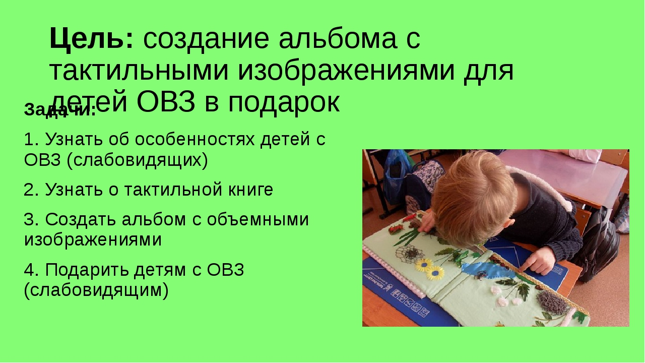 Цель: создание альбома с тактильными изображениями для детей ОВЗ в подарок За...