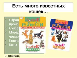 Есть много известных кошек… В доме Заходера всегда жили животные – собаки и к