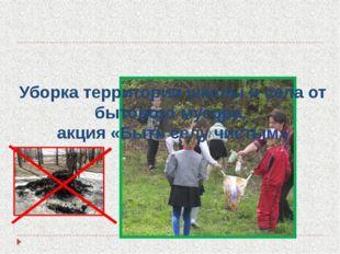 Уборка территории школы и села от бытового мусора, акция «Быть селу чистым»