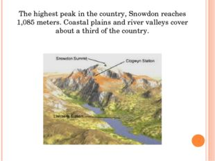The highest peak in the country, Snowdon reaches 1,085 meters. Coastal plains