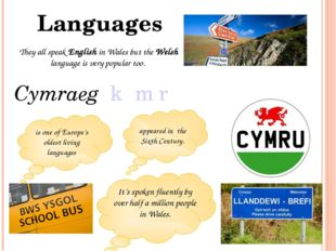 They all speak English in Wales but the Welsh language is very popular too. L
