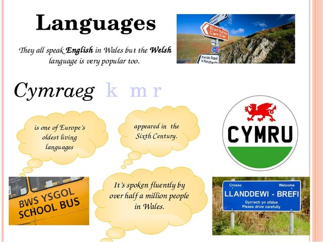 They all speak English in Wales but the Welsh language is very popular too. L...