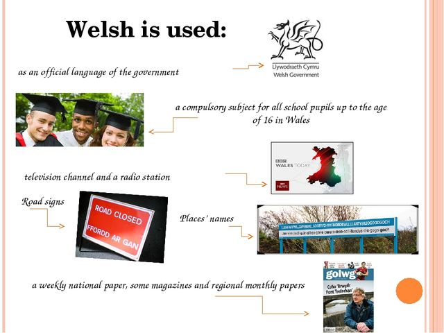 Welsh is used: as an official language of the government Road signs Places' n...
