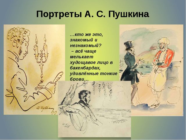 Портреты А. С. Пушкина …кто же это, знакомый и незнакомый? – всё чаще мелькае...