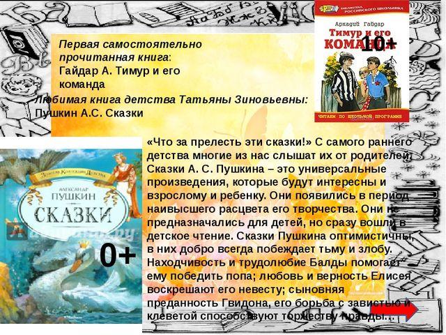 Любимая книга детства Татьяны Зиновьевны: Пушкин А.С. Сказки Первая самостоя...